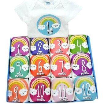 Baby Mamy Monthly Set เซตบอดี้สูท 12 เดือน แรกเกิด - 1 ปี ลาย Rainbow