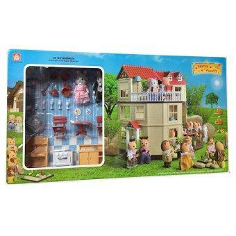 Worktoys บ้านตุ๊กตากระต่าย 3 ชั้น Happy Family พร้อมอุปกรณ์