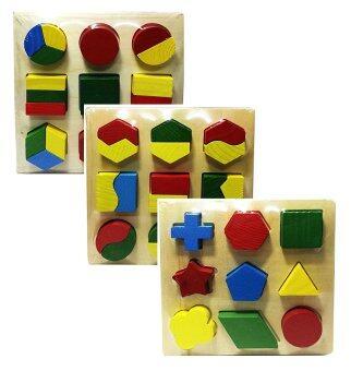 Tronic Grocer ของเล่นไม้เสริมพัฒนาการสำหรับเด็ก จิ๊กซอว์ชุดรูปทรงเรขาคณิต 3 ลวดลาย Wood Toy Geometry