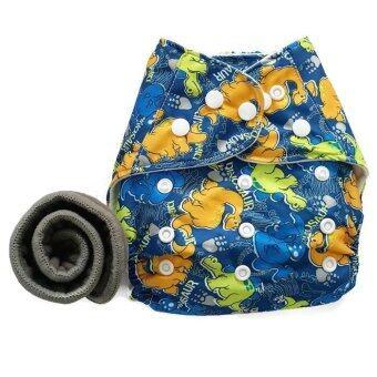 BABYKIDS95 กางเกงผ้าอ้อมกันน้ำ+แผ่นซับชาโคล Size:3-16กก. (Dark Blue Dino)