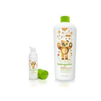 BabyGanics โฟมล้างมือสูตรไม่ต้องล้างน้ำออก กลิ่นส้มแมนดาริน ขนาดพกพาขนาด 50 มล. + BabyGanics โฟมล้างมือสูตรไม่ต้องล้างน้ำออก กลิ่นส้มแมนดาริน ชนิดเติมขนาด 473 มล.