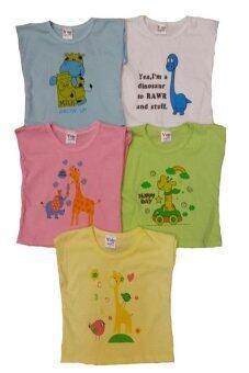 DD Kids เสื้อเด็กอ่อน 10 ตัว (สีฟ้า 2เหลือง2เขียว2ขาว2ชมพู2) สำหรับเด็กแรกเกิด0-4เดือน