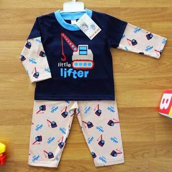Baby Elegance ไซส์ 2 (6-12 เดือน) ชุดนอน เด็กผู้ชาย เซ็ต 2 ชิ้น เสื้อแขนยาวลายรถยก กางเกงขายาว
