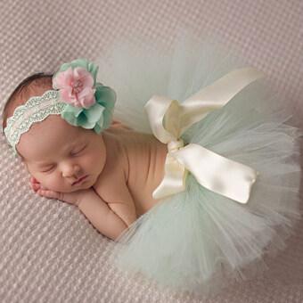 HengSong 30วันทารกแรกเกิดประกอบภาพถ่ายชุดกระโปรงกระโปรงเด็กชุดแฟชั่นเจ้าหญิงสีเขียวอ่อน (image 0)