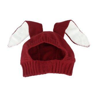 Harga GEMVIE Winter Baby Warm Knitted Hat Lovely Rabbit Beanie Hat Ear Crochet Cotton Caps For Infant /Toddlers/Boys/Girls (Red)