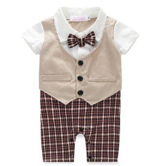 Gracefulvara ชุดสูทเด็กแรกเกิดเด็กผู้ชายเสื้อผ้าเด็กผู้ทำเสียงอึกทึกครึกโครมปาร์ตี้ชุดเสื้อผ้า-กากี