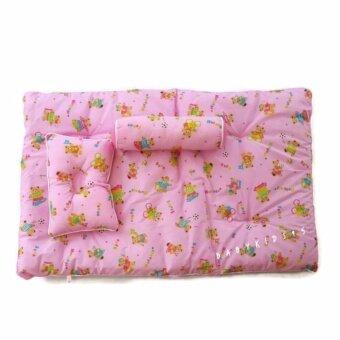 BABYKIDS95 ที่นอนเด็กอ่อน 3 ชิ้น (เบาะ+หมอนหลุม+หมอนข้าง) Size 55*85 cm. รุ่น G1 (Pink)