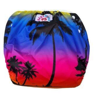 BABYKIDS95 กางเกงผ้าอ้อมว่ายน้ำ ปรับขนาดได้ รุ่น Digital Print ไซส์เด็ก 7-13.5 กก. ลาย Sunset (สีน้ำเงิน)