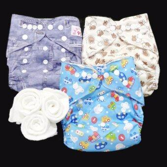 กางเกงผ้าอ้อม กันน้ำ PUL +แผ่นซับไมโครฯ Size:3-16กก. เซ็ท3ตัว A3-3014