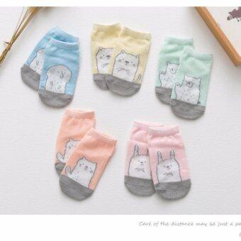 ถุงเท้าเด็ก อายุ 0-4 ปี มีกันลื่น เซ็ต 5 คู่ 5 สี ลายแมว Kinberli # 0085