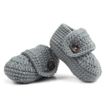 โอ้ 1 คู่เด็กทารกเด็กเล็กน่ารัก ๆ รองเท้าถุงเท้าไหมพรมถักเปลเดินสีเทา