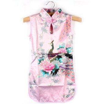 ชุดเด็กผู้หญิง ชุดกี่เพ้า ชุดจีน สีชมพูอ่อน เหมาะกับเด็ก 2-3 ขวบ