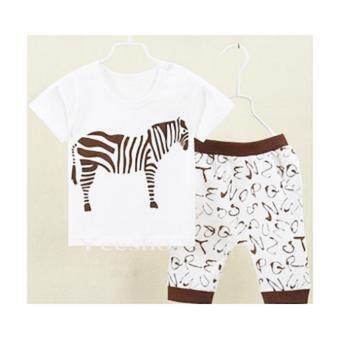 YeeShop ชุดเสื้อผ้าเด็กเข้าชุด ลายม้าลาย สีน้ำตาล #55 (1-5years)