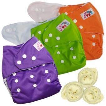 กางเกงผ้าอ้อมกันน้ำ+แผ่นซับไมโครฯ Size:3-16กก. เซ็ท3ตัว (Orange/Green/Purple)
