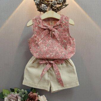 Harga White Short Pants Floral Sun-top Set Summer Fashion Wear for 2-7 Years Old Baby Girls - intl