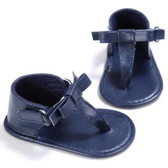Harga YY Toddler Baby Girl Boy Leather Sandals Kid Thongs Sandals Big Bow Girls Gladiators Roman Sandles Summer Shoes Blue - intl