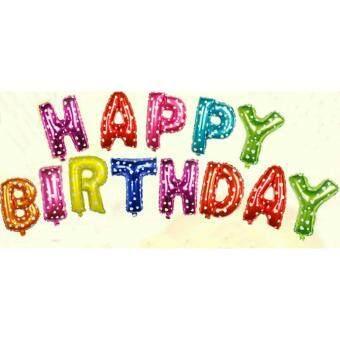 Baby Station บอลลูนตัวอักษร Happy Birthday 16 นิ้ว ใช้ตกแต่งงานวันเกิด สีหลากสี