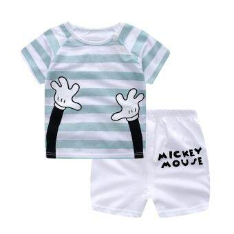 Harga Bear Fashion Baby Girls Boys Clothing Kids Summer Clothes 2pcs Set Striped Cartoon Suit - intl