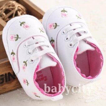 รองเท้าหัดเดิน รองเท้าเด็กอ่อน รองเท้าเด็กพื้นผ้า baby shoe Prewalker ของใช้เด็กอ่อน รองเท้าทารก รองเท้าเด็กเล็ก สีขาว ลายดอกไม้