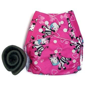 BABYKIDS95 กางเกงผ้าอ้อมกันน้ำ+แผ่นซับชาโคล Size:3-16กก. (Pink Zebra)