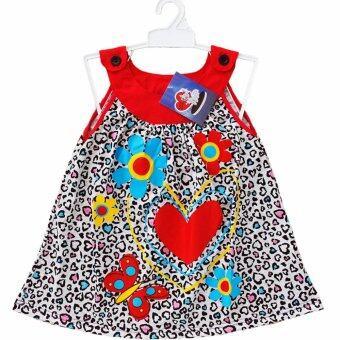Lulu Caty ไซส์ 4 (3-4 ปี) ชุดเดรส ชุดกระโปรง เด็กหญิง แขนกุด ผ้า Cotton 100% ลายหัวใจ ใส่สบาย
