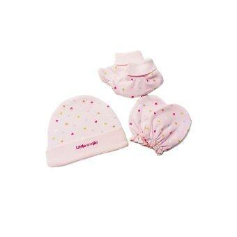 B&B kids เซ็ต 3 ชิ้น หมวก ถุงมือ ถุงเท้า เด็กอ่อนไซส์ 0-6เดือน ลายหัวใจ