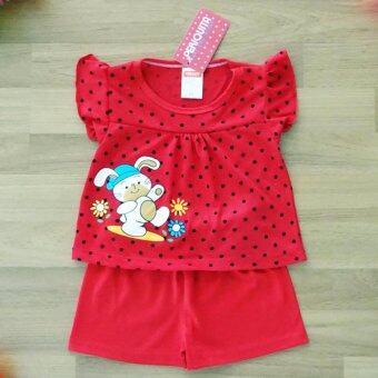 Periquita ไซส์ 3-6 เดือน เซ็ต 2 ชิ้น ชุดเด็กหญิง เสื้อแขนสั้น ลายจุด กระต่าย สีแดง กางเกงขาสั้นเอวยางยืดผ้า Cotton 100% นุ่มใส่สบาย