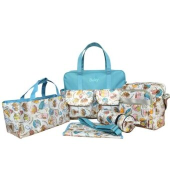 Baby 5 Gift กระเป๋าใส่ของทารก 5ชิ้น สำหรับใส่ขวดนม ผ้าอ้อม แพมเพิส พร้อมกระเป๋าทรงกระบอกเก็บอุณหภูมิ