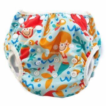 BABYKIDS95 Swim Nappy Digital Print ผ้าอ้อมว่ายน้ำ ลายดิจิตอล ปรับขนาดได้ สำหรับ เด็กแรกเกิด- 7 กก. (Mermaid-Blue)