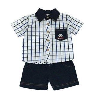 ฺBaby เซ็ทเสื้อผ้าเด็กชาย 2ชิ้น ( เสื้อเชิ๊ต + กางเกง ) ลายสก๊อตสีขาว
