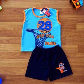Periquita ไซส์ 4 (3-4 ปี) เสื้อผ้า ชุดกีฬา เด็กผู้ชาย แขนกุด เซ็ต 2 ชิ้น เสื้อแขนกุดสีฟ้า กางเกงขาสั้น บาสเก็ตบอล
