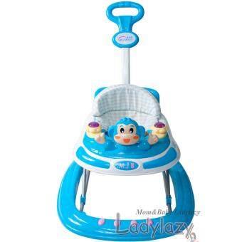 ladylazy รถเด็กหัดเดิน ประได้ 3 ระดับ ลายลิงน้อย สีฟ้า