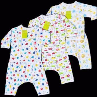 BABYKIDS95 เสื้อแขนยาวผูกหน้า+กางเกงขายาวต่อเป้า Size 6-12 เดือน คละลาย 3 ชุด (White)