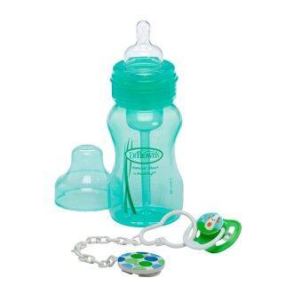 Dr.Brown's ขวดนมพร้อมจุกหลอก Wide-Neck Bottle + Soother Gift Set - Green