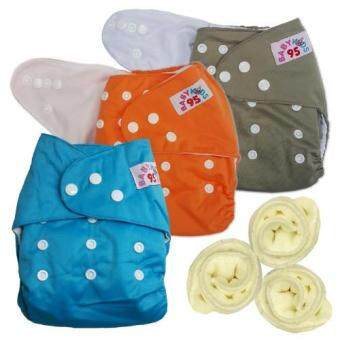 BABYKIDS95 กางเกงผ้าอ้อมกันน้ำ+แผ่นซับไมโครฯ Size:3-16กก. เซ็ท3ตัว (Blue/Orange/Gray)