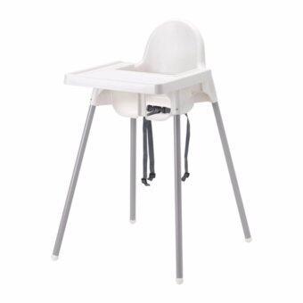 เก้าอี้ทานข้าวเด็กเล็กทรงสูงพร้อมถาด (สีขาว)และเข็มขัดนิรภัย ขนาด 58x62x90 ซม., สีเงิน