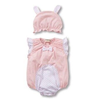 Harga Baby Unisex Cartoon Romper Bodysuit Sleeveless Clothing With Hat Light Pink Rabbit - intl