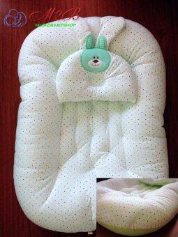 Mum2baby ที่นอน รังผึ้งcotton100% ลายจุด ขนาด60x96x15cm. สี เขียว (image 0)