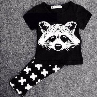 Little Monster เสื้อ+กางเกงเข้าชุดลายสุนัขจิ้งจอก สีดำ สำหรับเด็กอายุ 6 - 18 เดือน