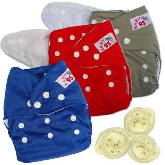 กางเกงผ้าอ้อมกันน้ำ+แผ่นซับไมโครฯ Size:3-16กก. เซ็ท3ตัว (Grey/Red/Dark Blue)(Multicolor Others)