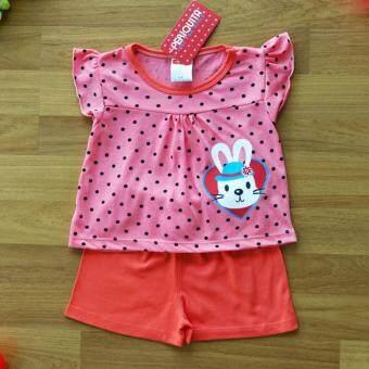 Periquita ไซส์ 6-9 เดือน เซ็ต 2 ชิ้น ชุดเด็กหญิง เสื้อแขนสั้น ลายจุด กระต่าย หัวใจ สีชมพู กางเกงขาสั้นเอวยางยืดผ้า Cotton 100% นุ่มใส่สบาย