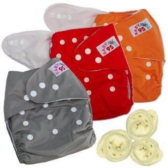 กางเกงผ้าอ้อมกันน้ำ+แผ่นซับไมโครฯ Size:3-16กก. เซ็ท3ตัว (Orange/Red/Grey)
