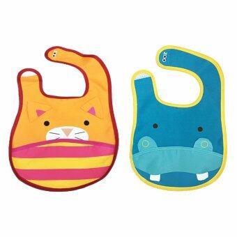 ผ้ากันเปื้อนเด็กลายสัตว์ 2 ชิ้น (ลายแมว + ฮิปโป)