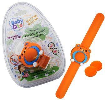 BabyQto สายรัดข้อมือกันยุง สีส้มลายหมี