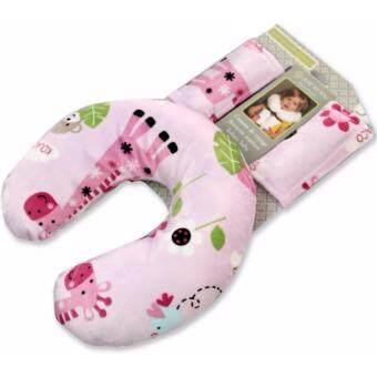 หมอนรองคอเด็ก รุ่นตัวยู พร้อมที่หุ้มเข็มขัด รุ่นยีราฟ - JTY kids neck pillow with belt cover (giraffe)