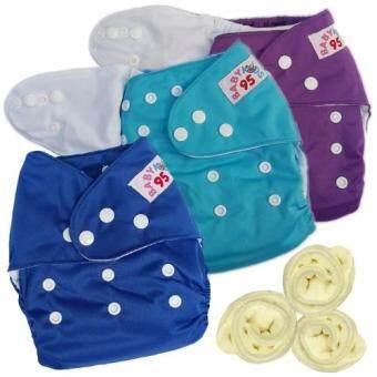 กางเกงผ้าอ้อมกันน้ำ+แผ่นซับไมโครฯ Size:3-16กก. เซ็ท3ตัว (Purple/Blue/Dark Blue)