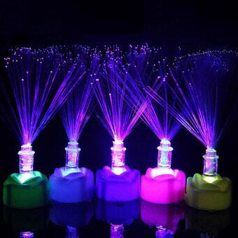 Led สีเปลี่ยนสีสันแสงไฟยามเส้นใยนำแสงการตกแต่งบ้านกลุ่ม