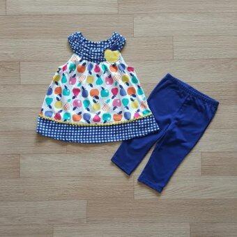 Kids Headquarters ชุดเข้าเซ็ท เสื้อลายแอปเปิ้ล+กางเกงเลคกิ้งสีน้ำ้เงิน
