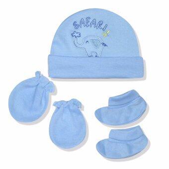 Babybrown ชุดเซ็ท หมวก ถุงมือ และถุงเท้า สีฟ้า