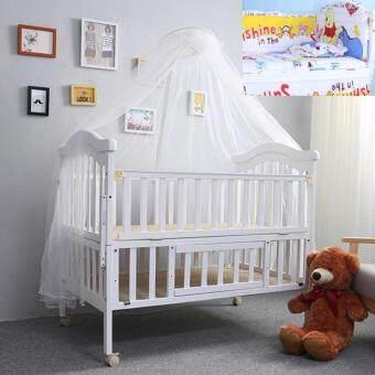Baby Bed เตียงไม้เด็กสีขาวขนาดใหญ่ รุ่น Big White พร้อมเครื่องนอนสีเหลืองลายหมีน้อยน่ารัก (สีขาว)